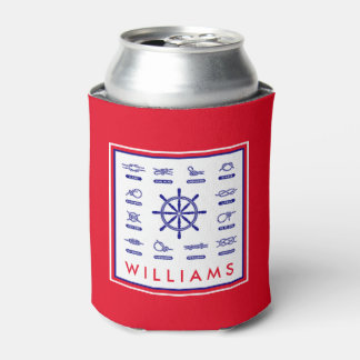 Nautical Rope & Stripes | With Your Name Can Cooler