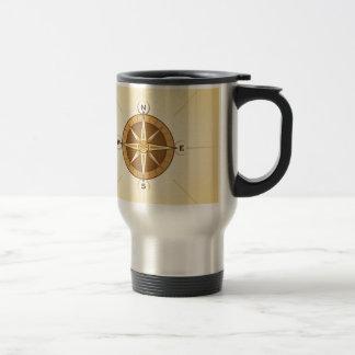 Nautical Rose Compass Stainless Steel Travel Mug