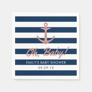 Nautical Rose Gold Anchor Navy Stripes Baby Shower Paper Serviettes