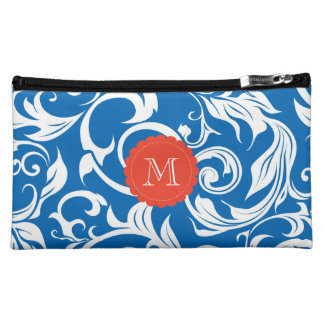 Nautical Royal Blue Floral Scroll Red Monogram Makeup Bag