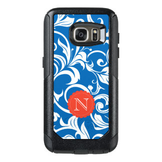Nautical Royal Blue Red Wallpaper Swirl Monogram OtterBox Samsung Galaxy S7 Case