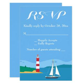Nautical RSVP Lighthouse Sailboat Blue Ocean Beach Card