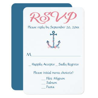 Nautical RSVP Ship Anchor Blue Floral Wedding 9 Cm X 13 Cm Invitation Card