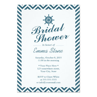 Nautical Rudder Blue Chevron Stripes Bridal Shower Card