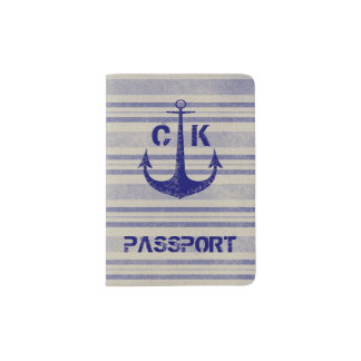 Nautical rustic anchor travel monogram passport holder