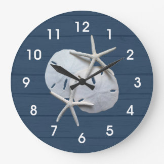 Nautical Rustic Sand Dollar Starfish Wall Clock