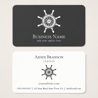 Nautical Rustic Ship Wheel Boat Captain Boating Business Card
