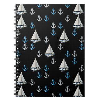 Nautical Sail Boats and Anchors Notebook