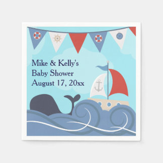 Nautical Sailboat Beach Ocean Whale Baby Shower Disposable Napkin