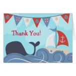 Nautical Sailboat Beach Ocean Whale Thank You Note Card