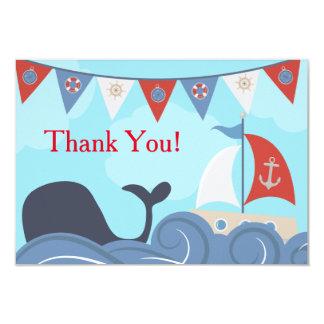 Nautical Sailboat Beach Ocean Whale Thank You 9 Cm X 13 Cm Invitation Card