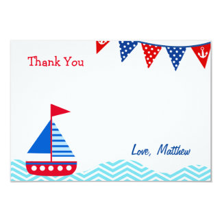 Nautical Sailboat Birthday Thank You Note Cards