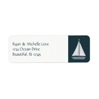 Nautical Sailboat Blue and White Address