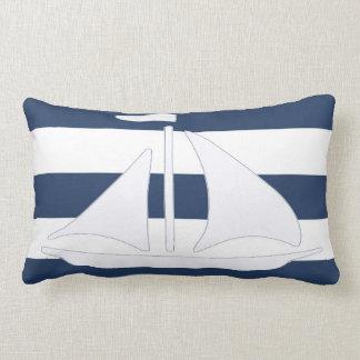 Nautical Sailboat Blue Stripe Lumbar Pillow