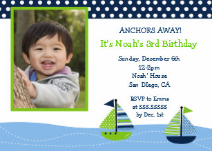 Nautical Boy 1st Birthday Invitations
