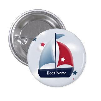 Nautical Sailboat Design Custom Round Button