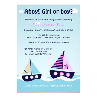 "Nautical Sailboat Gender Reveal Gender Neutral 5"" X 7"" Invitation Card"
