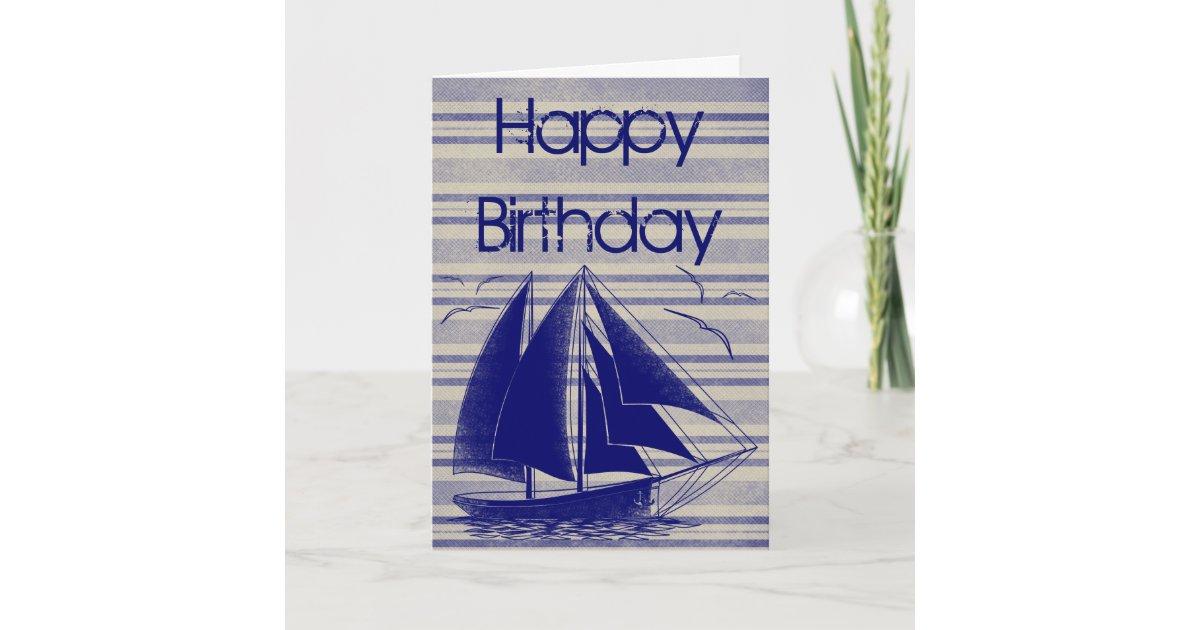 nautical sailboat happy birthday card zazzle co uk