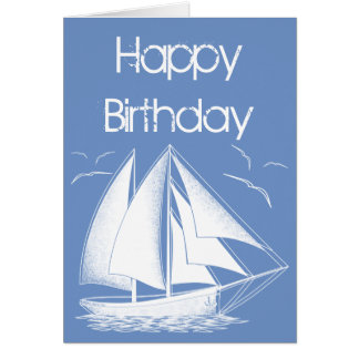 Nautical sailboat Happy Birthday Card