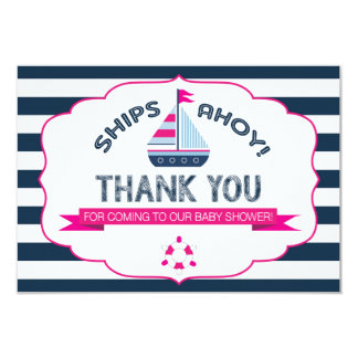 Nautical Sailboat Hot Pink Navy Stripe Thank You 9 Cm X 13 Cm Invitation Card