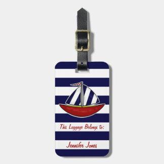 Nautical Sailboat Luggage Tag