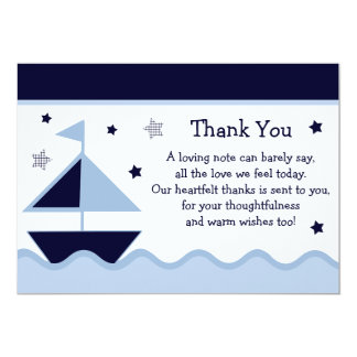 Nautical/Sailboat/Navy Baby Shower Thank You Card 13 Cm X 18 Cm Invitation Card