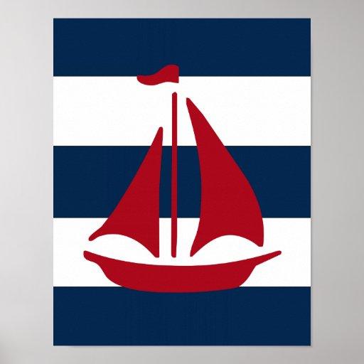 Nautical Sailboat print red, navy and white
