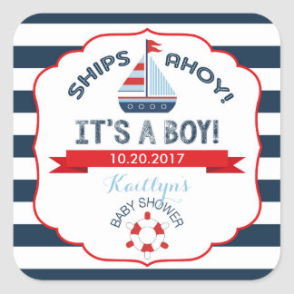 Nautical Sailboat Red Boy Baby Shower Label Square Sticker