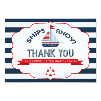 Nautical Sailboat Red Navy Stripe Thank You 9 Cm X 13 Cm Invitation Card