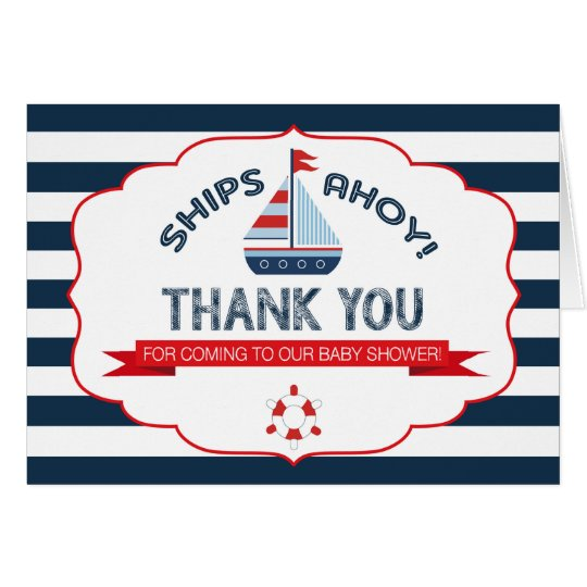 Nautical Sailboat Red Navy Stripe Thank You Card