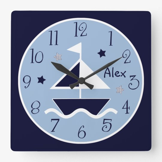 Nautical Sailboat & Stars Cute Kid's Baby Clock
