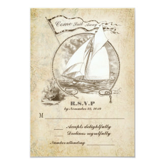 Nautical sailboat wedding RSVP-Come Sail Away 3.5x5 Paper Invitation Card