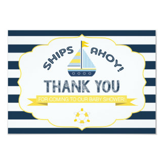 Nautical Sailboat Yellow Navy Stripe Thank You 9 Cm X 13 Cm Invitation Card