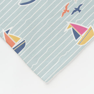 Nautical Sailboats Blue Print Fleece Blanket