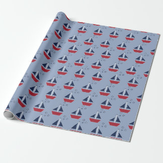 Nautical Sailboats on Blue Wrapping Paper
