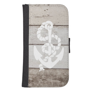 Nautical Sailing Anchor On Faux Wood -printed flat Samsung S4 Wallet Case
