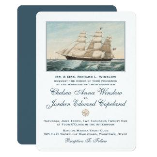 Nautical Sailing Clipper Ship   Classic Wedding Card