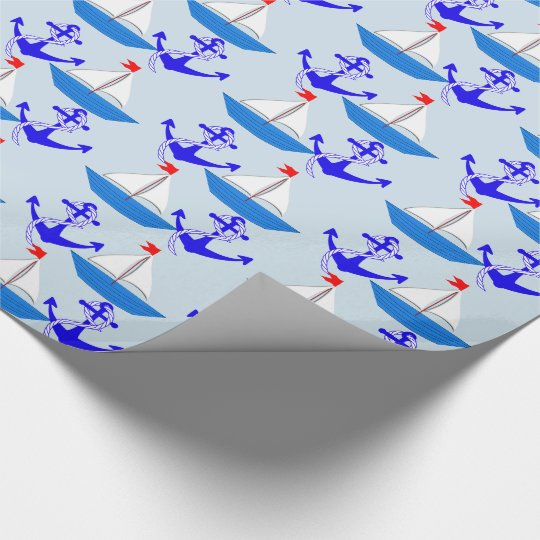 Nautical Sailing Ship Anchors Patterned Wrapping Paper