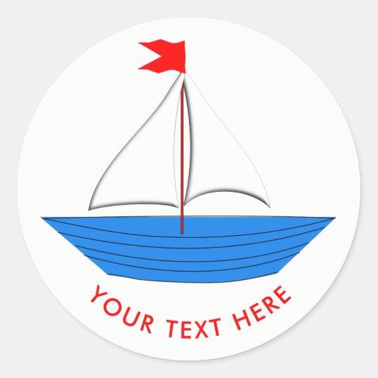 Nautical Sailing Ship Personalised Classic Round Sticker