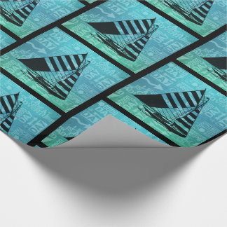 Nautical Sailing Water Sports Theme Green and Blue Wrapping Paper