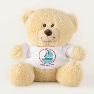 Nautical Sailing with Custom Name and Date Teddy Bear