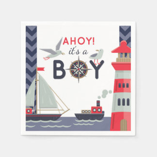 Nautical Sailor Boats Ahoy Baby Boy Shower Party Paper Napkin
