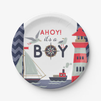 Nautical Sailor Boats Ahoy Baby Boy Shower Party Paper Plate
