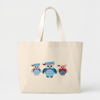 Nautical Sailor Owls Large Tote Bag