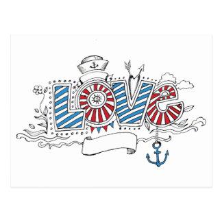 Nautical Sailor Retro Love Postcard