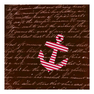 Nautical Sailor Stripe Red Anchor art poster