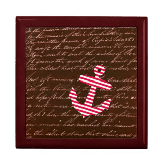 Nautical Sailor Stripe Red Anchor jewelry gift box