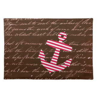 Nautical Sailor Stripe Red Anchor placemats