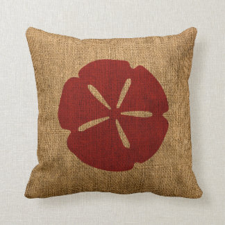 Nautical Sand Dollar Rustic Red Cushion