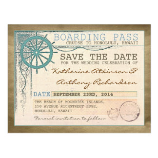 nautical save the date boarding pass postcards